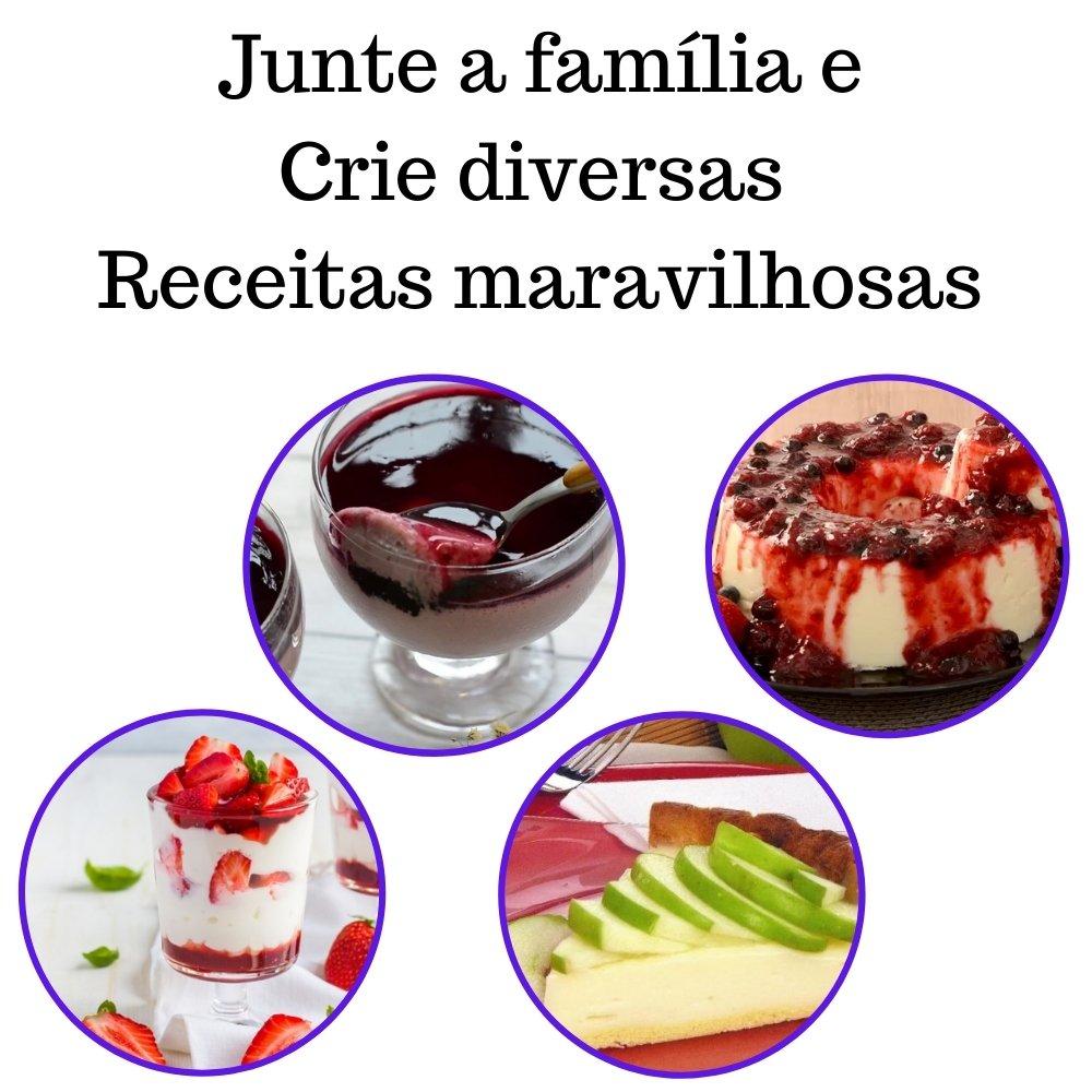 Kit 4 XAROPES DILUTE PREMIUM DRINKS E DOCES 500ML Maçã, Morango, Uva E Frutas Vermelhas Zero