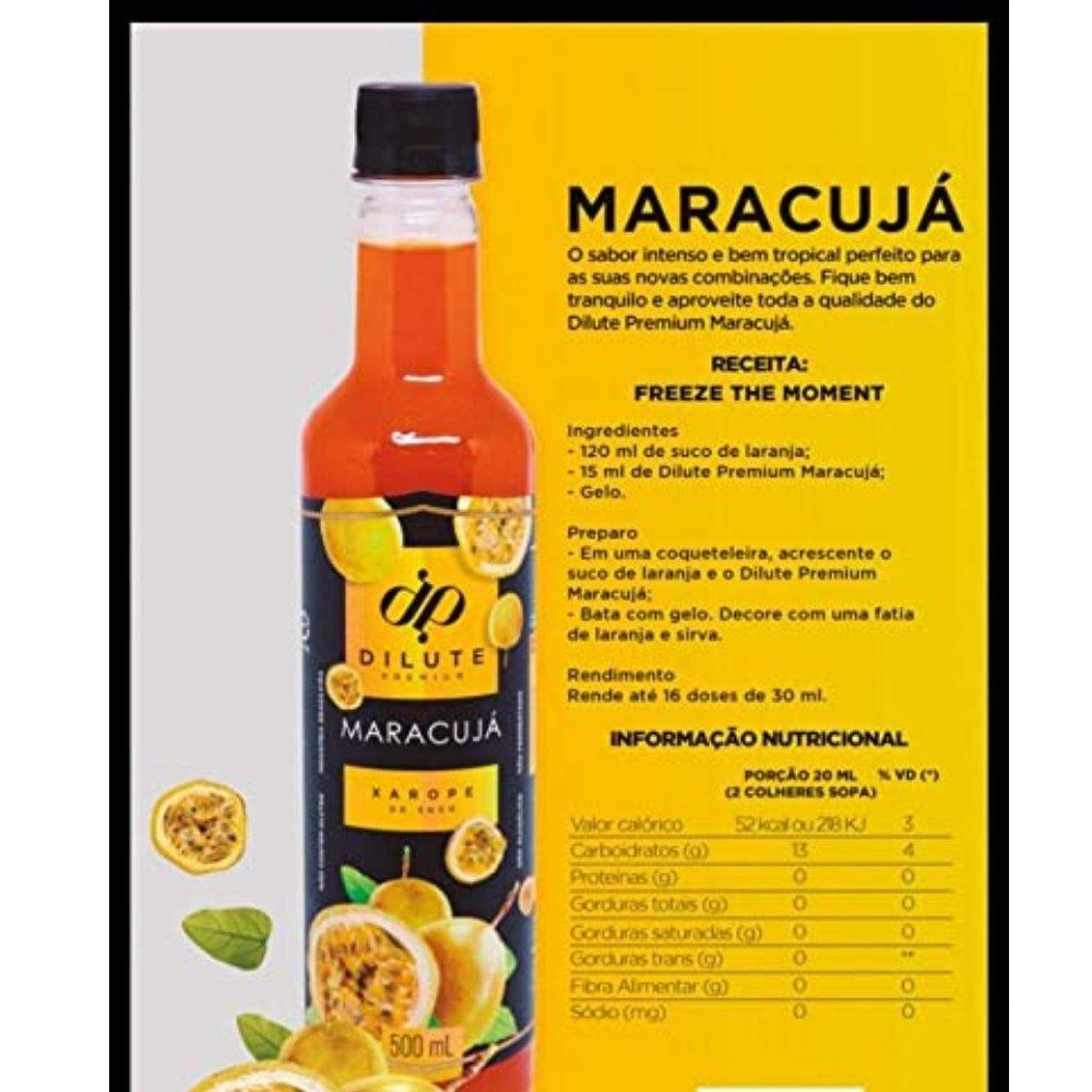 Kit 4 XAROPES DILUTE PREMIUM DRINKS E DOCES 500ML Maracujá