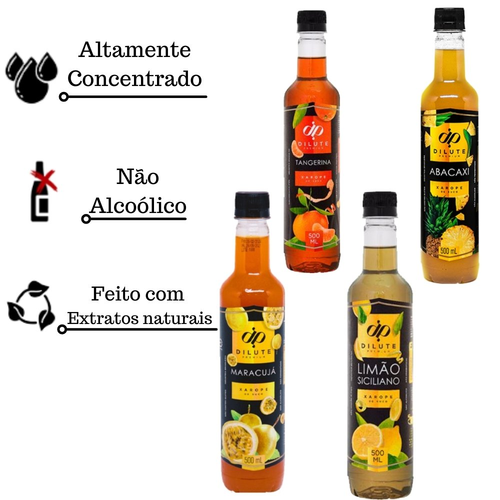 Kit 4 XAROPES DILUTE PREMIUM DRINKS E DOCES 500ML Maracujá, Tangerina, Abacaxi E Limão Siciliano