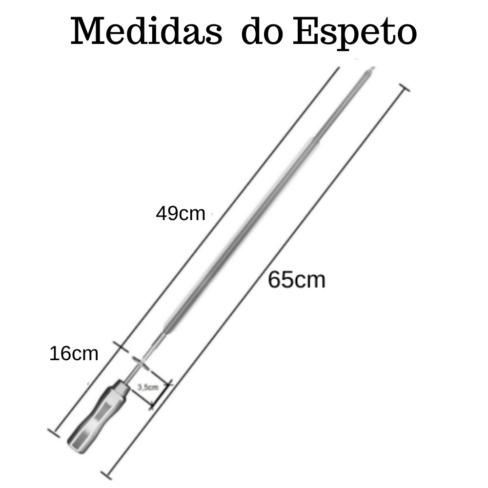 kit 5 Espeto Espada Inox 65CM Cabo Em Alumínio