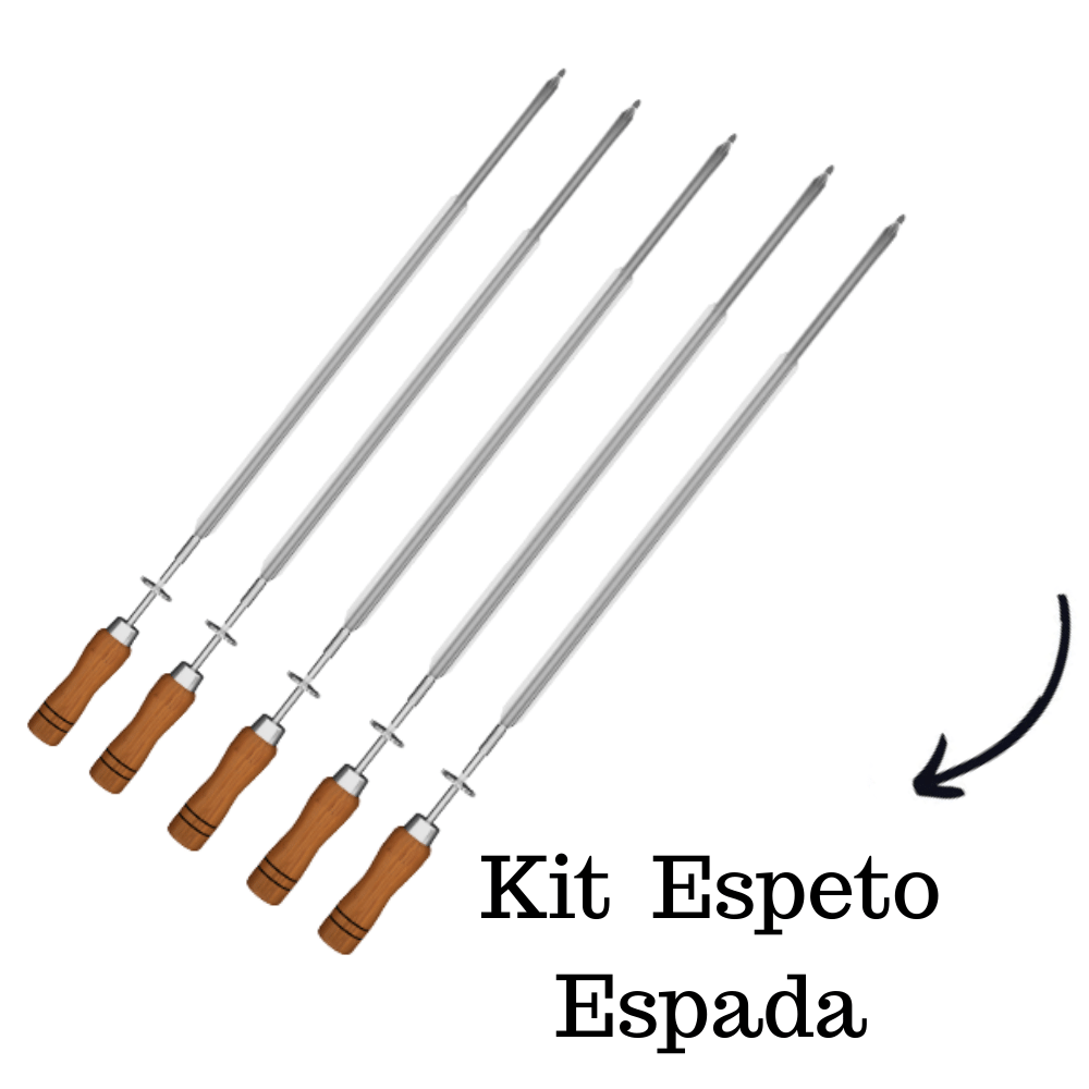 kit 5 Espeto Espada Inox 65CM Cabo em Madeira