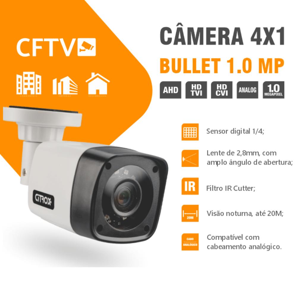 Kit 6 Câmeras de Segurança Bullet 4X1 1.0MP Citrox 720MP