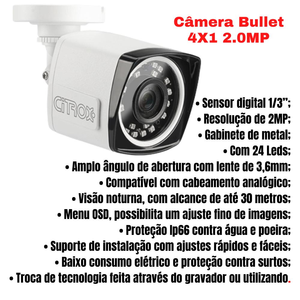 Kit 6 Câmeras De Segurança Bullet 4X1 2.0MP Citrox 1080MP