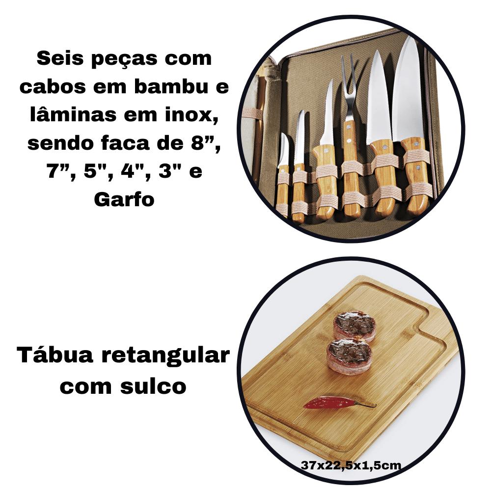 Kit Chef Churrasqueiro com Avental Tabua Faca Garfo Com Estojo