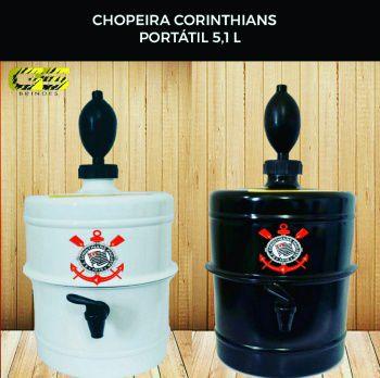 KIT  Chopeira Corinthians  - Preta E Branca - Portátil 5,1 L