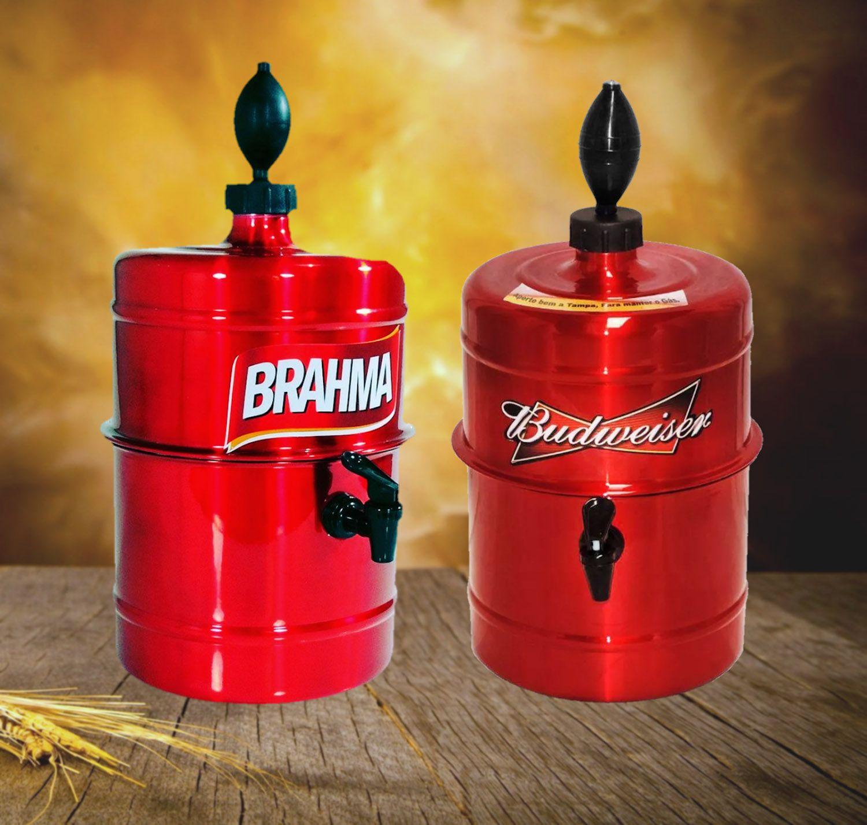 KIT Churrasco Chopeira Brahma e Budweiser - Vermelha - Portátil 5,1 L