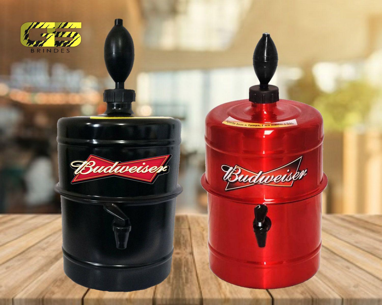 KIT Churrasco Chopeira Budweiser - Vermelha + Preta - Portátil 5,1 L