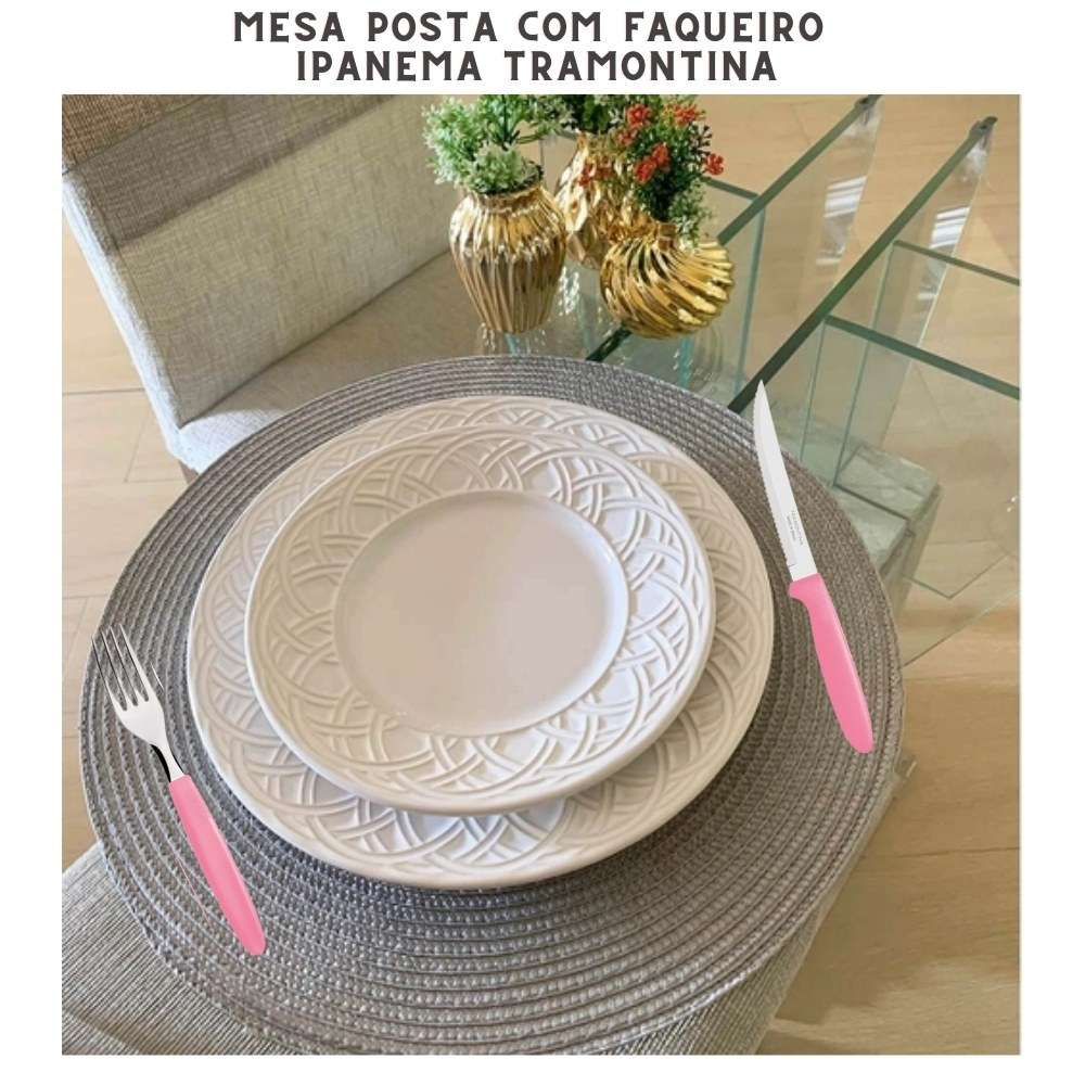 Kit Faqueiro 120 peças Tramontina Ipanema Rosa Conj. de Talheres