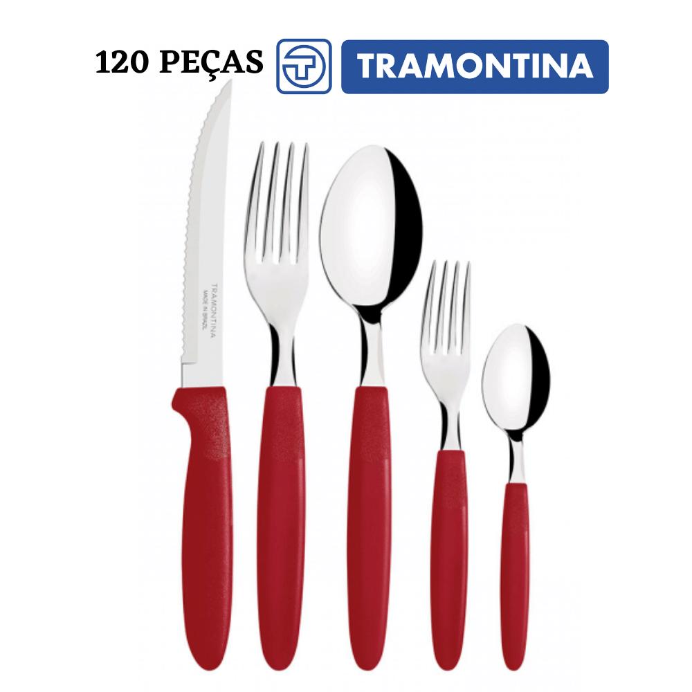 Kit Faqueiro 120 peças Tramontina Ipanema Vermelho Conj. de Talheres