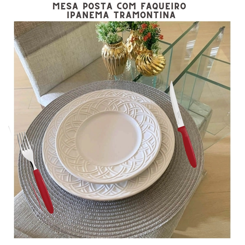 Kit Faqueiro 60 peças Tramontina Ipanema Vermelho Conj. de Talheres