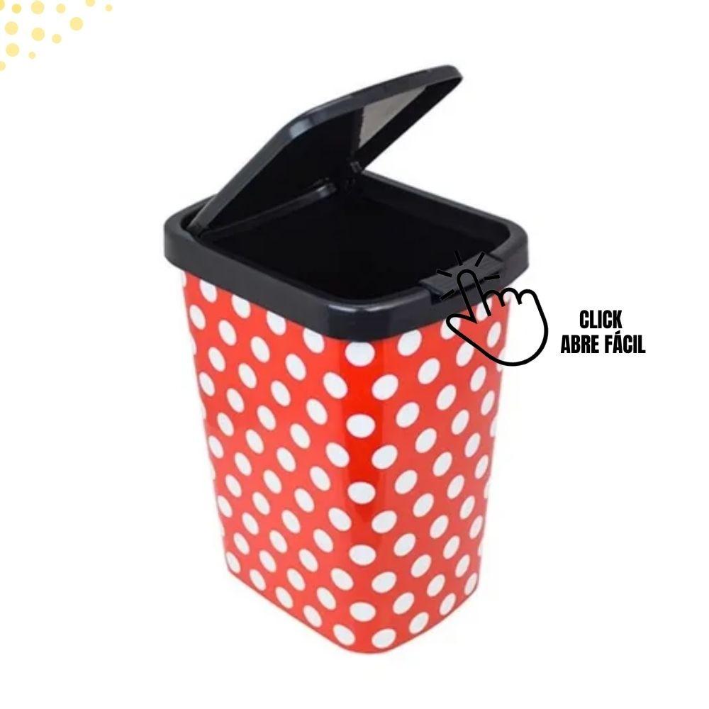 Lixeira Lixinho Cesto Lixo 9 litros Poa Vermelho Envio 24hs