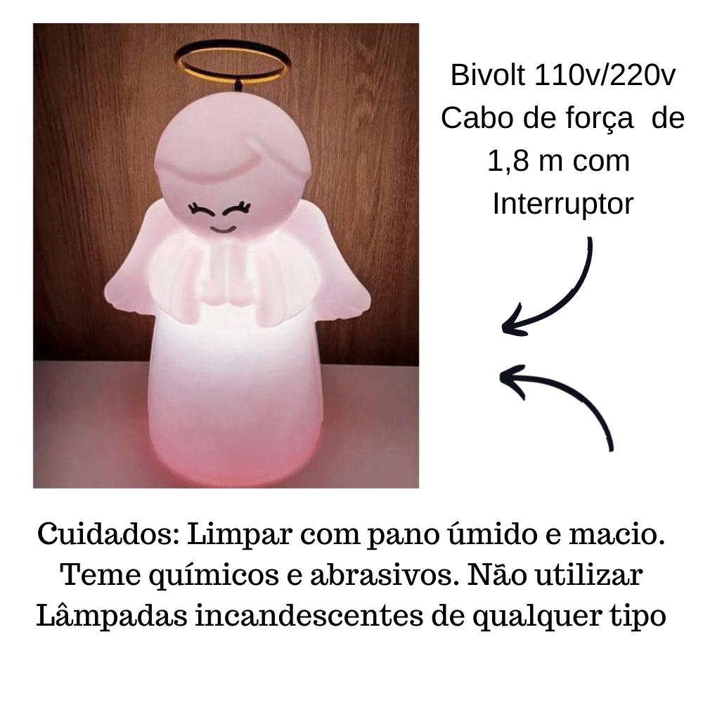 LUMINÁRIA ABAJUR DE MESA ANJO PROTETOR INFANTIL ROSA