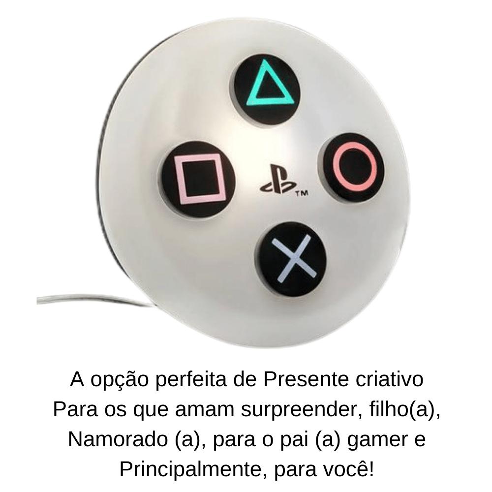 LUMINÁRIA ABAJUR DE MESA BOTÃO PLAYSTATION 4  BRANCO ORIGINAL