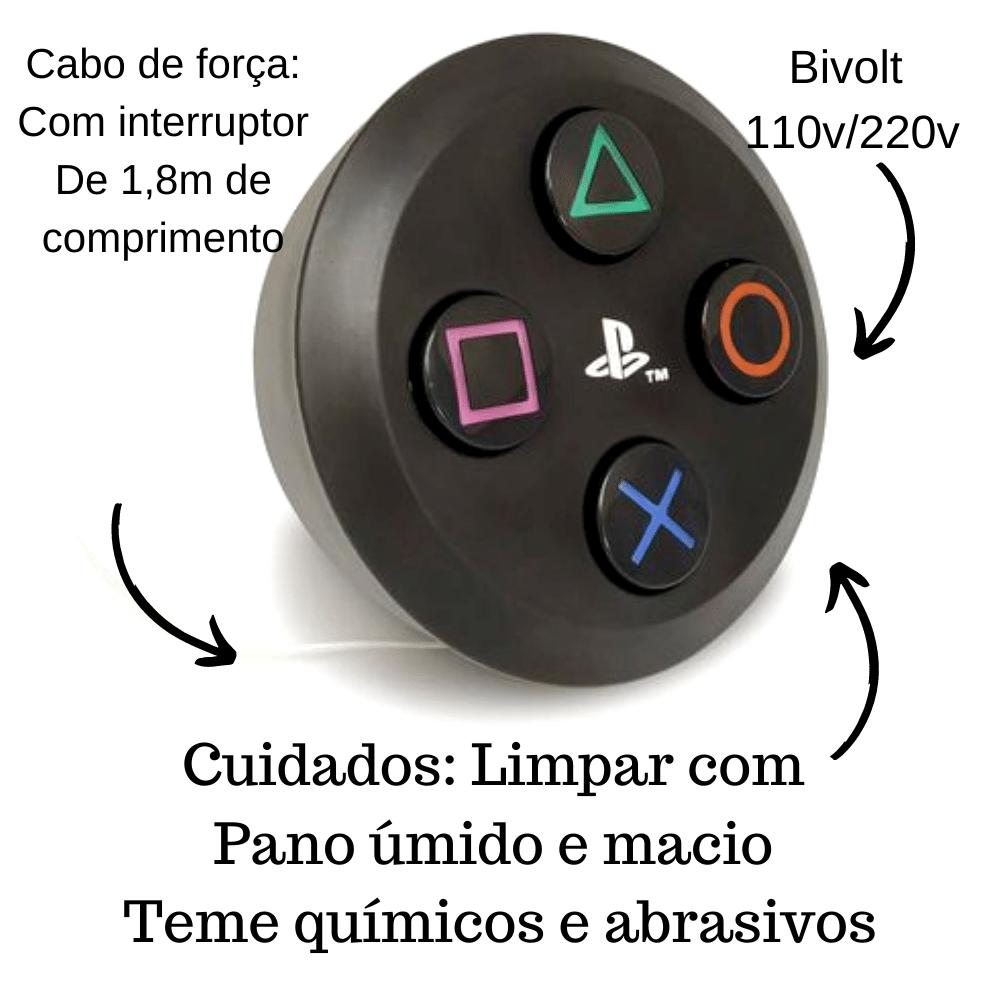 LUMINÁRIA ABAJUR DE MESA BOTÃO PLAYSTATION 4  PRETO