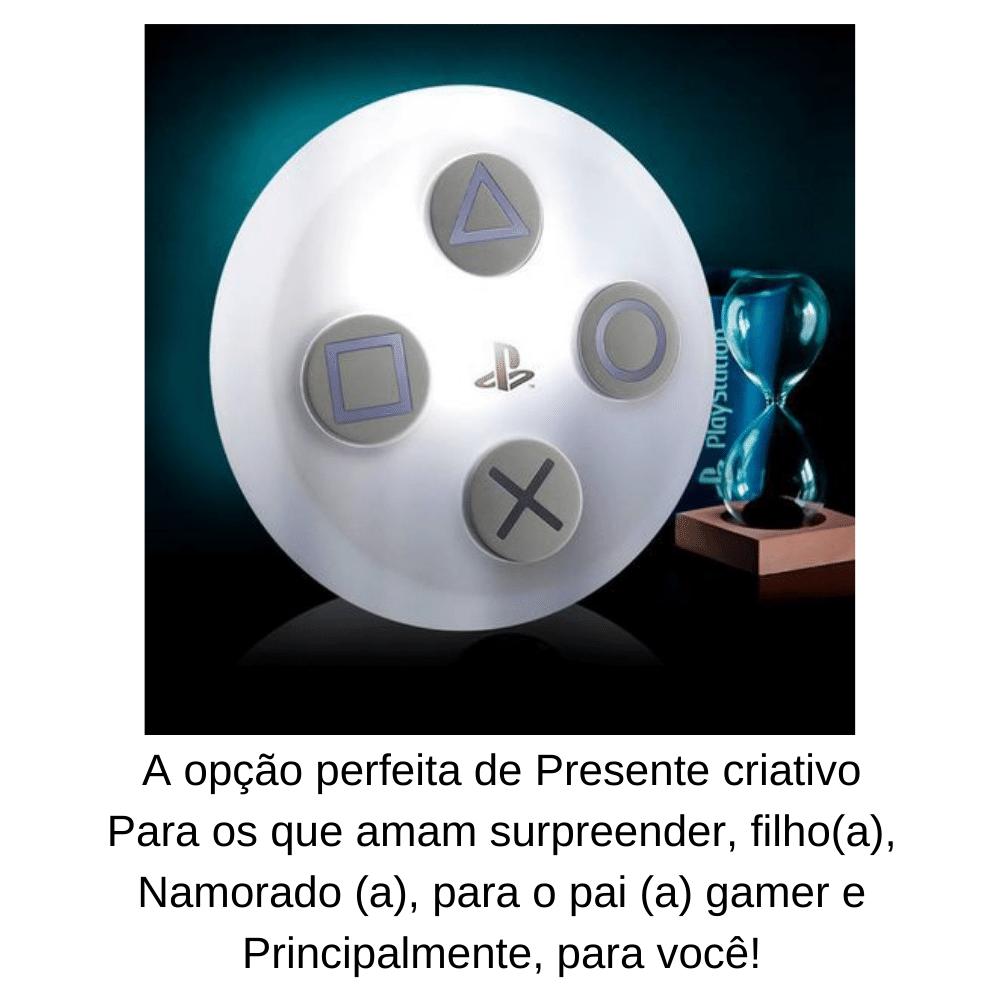 LUMINÁRIA ABAJUR DE MESA BOTÃO PLAYSTATION 5  BRANCO ORIGINAL