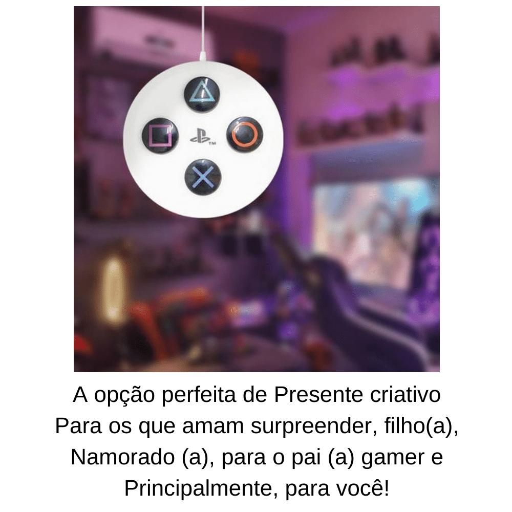 Luminária Pendente Botão PlayStation 4 Branco Original