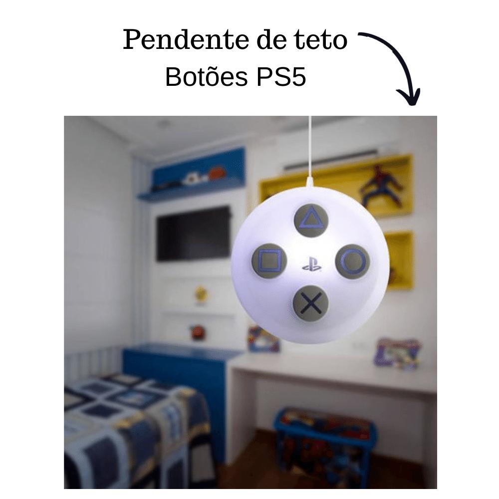 Luminária Pendente Botão PlayStation 5 Branco Original