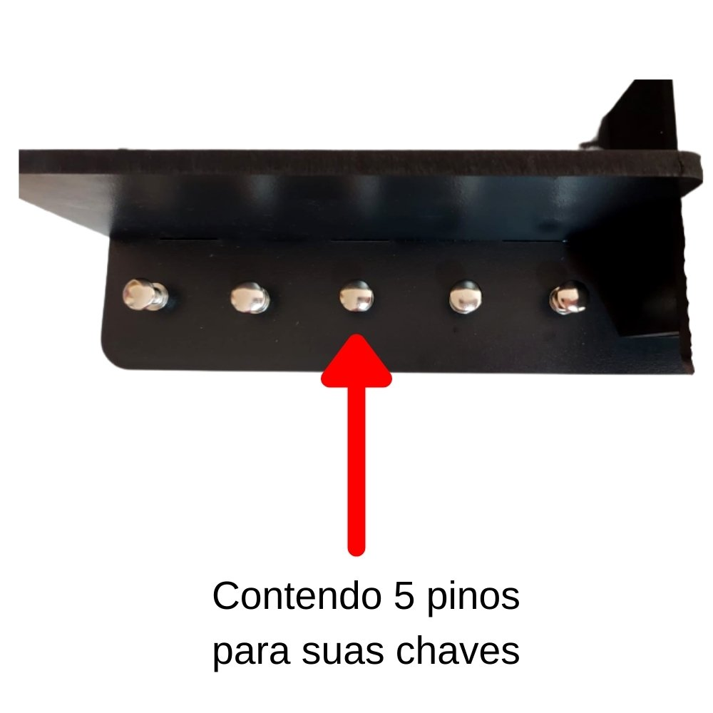 Porta Chaves e Organizador de Parede Fixo MDF Preto