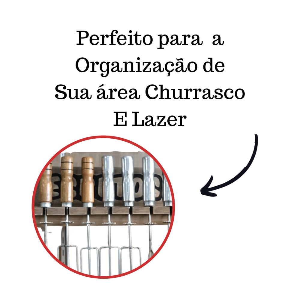 Porta Espetos Para 12 Espetos Modelo Madeira