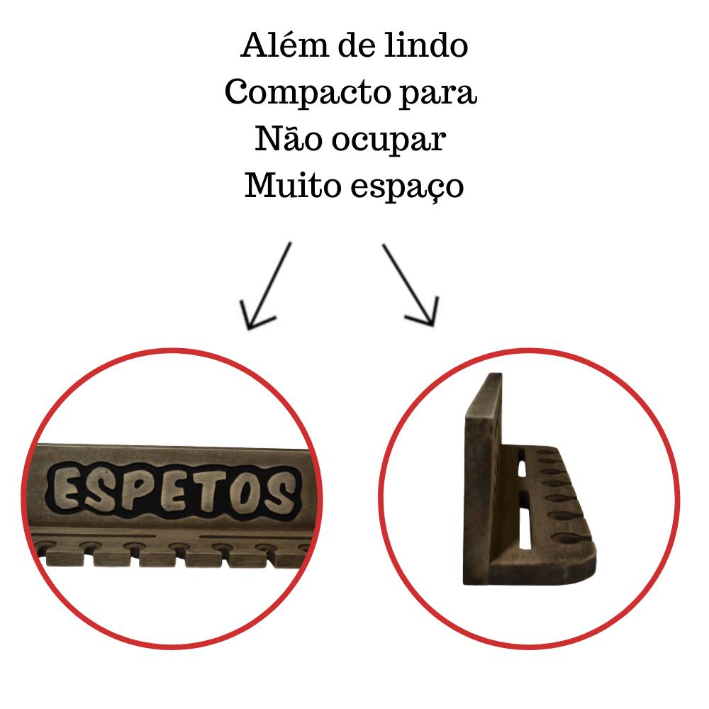 Porta Espetos Para 7 Espetos Modelo Madeira