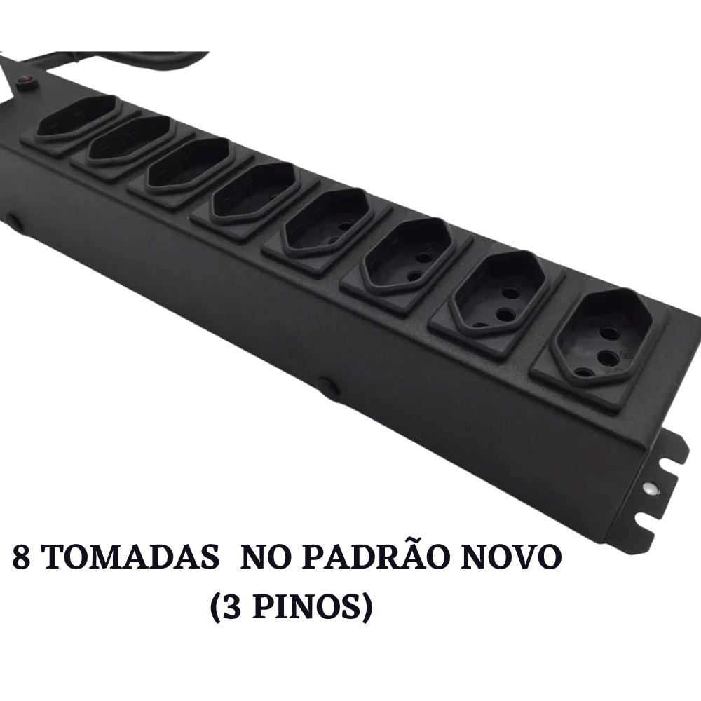 PROTETOR ELÉTRICO FILTRO DE LINHA COM DISJUNTOR 8 TOMADAS BIVOLT