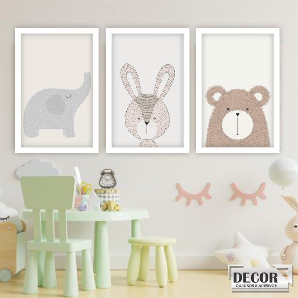 Quadro decorativo infantil animais safari com acrílico 40x30  branco