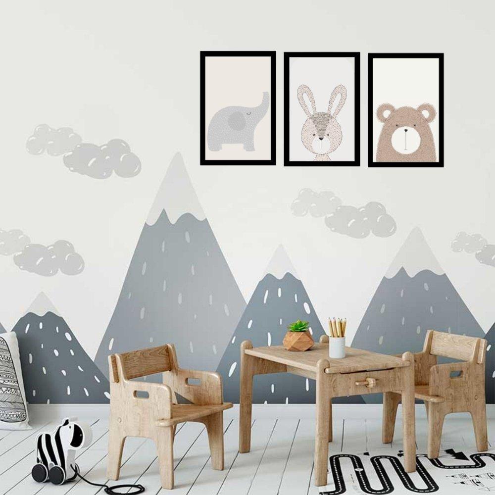 Quadro decorativo infantil animais safari com acrílico 40x30  preto