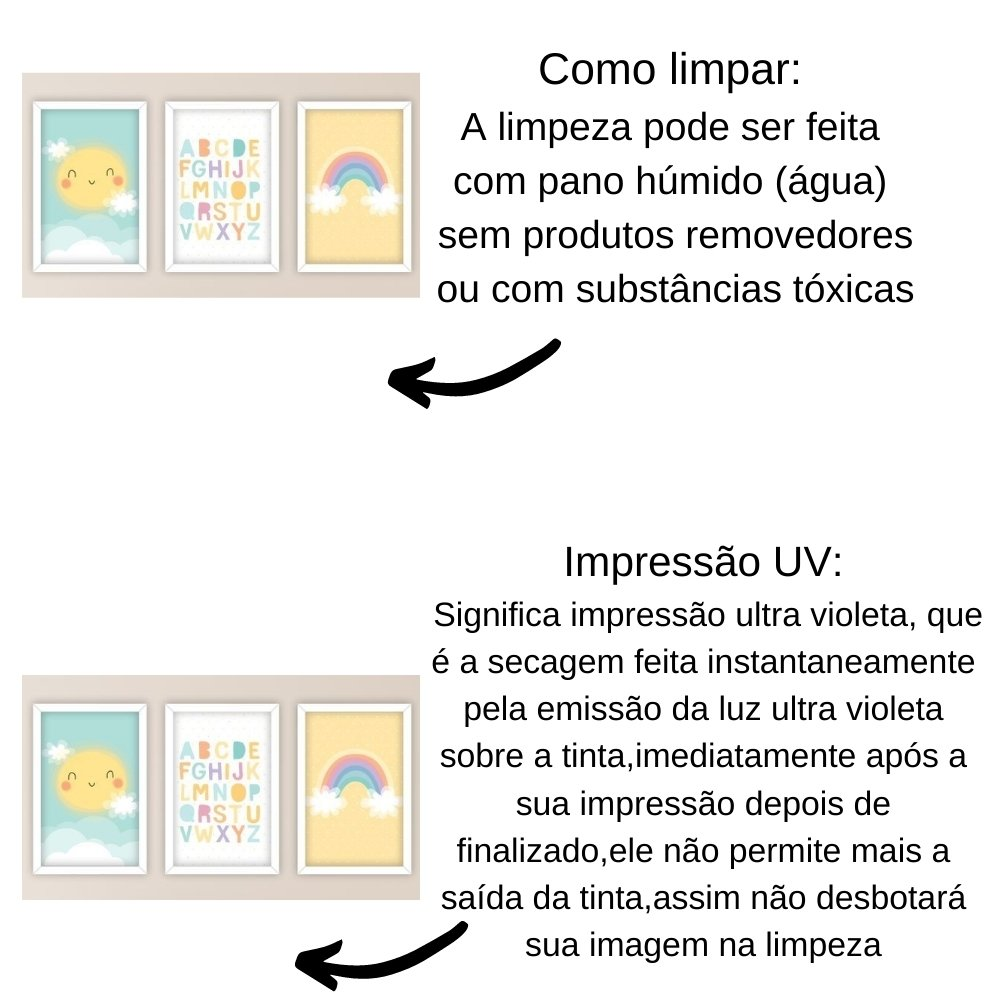 Quadro decorativo infantil baby alfabeto com acrílico 30x20  branco
