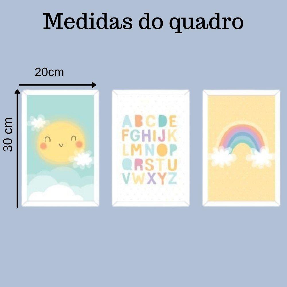 Quadro decorativo infantil baby alfabeto sem acrílico 30x20  branco