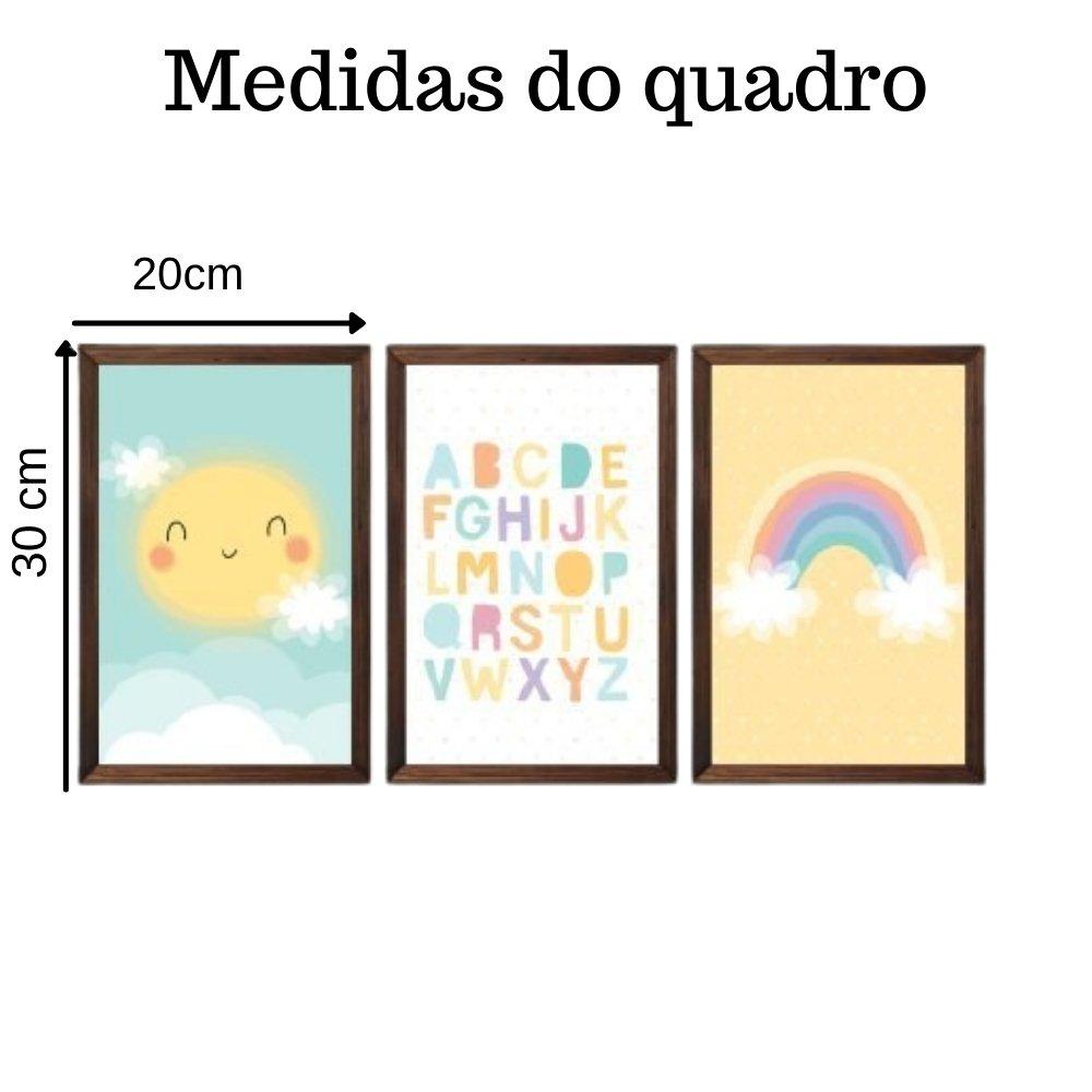 Quadro decorativo infantil baby alfabeto sem acrílico 30x20  marrom
