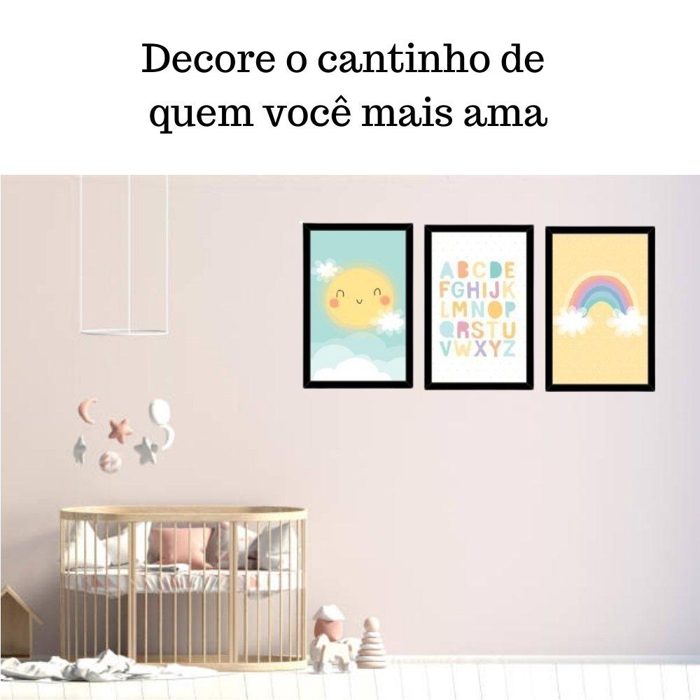Quadro decorativo infantil baby alfabeto sem acrílico 30x20  preto