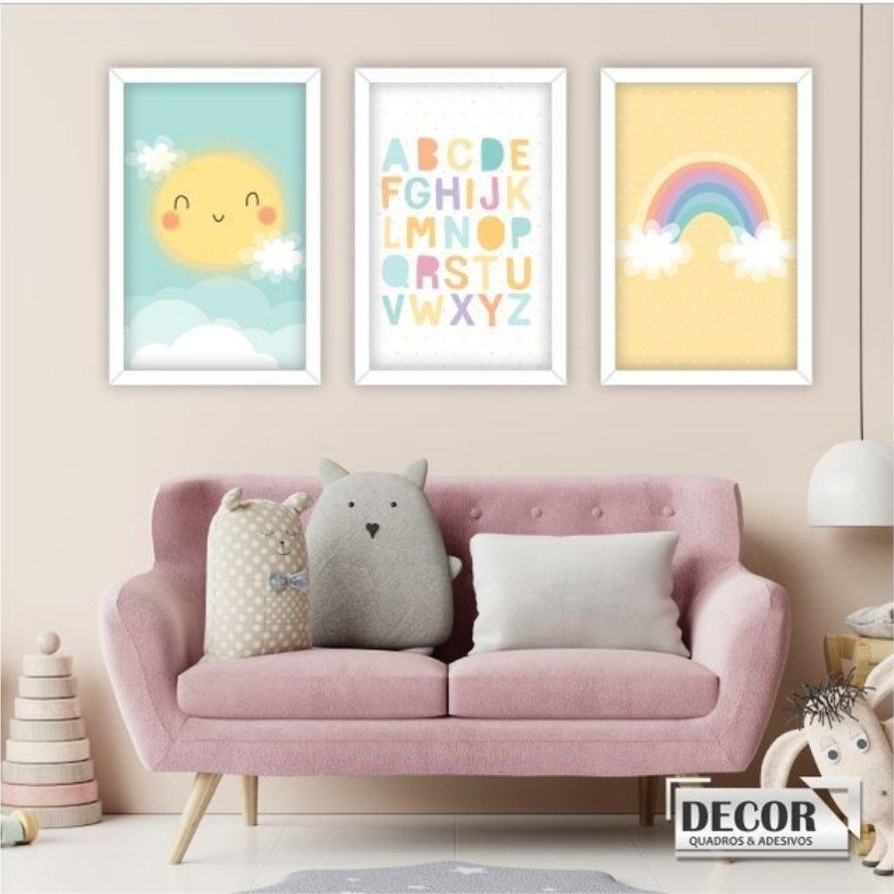 Quadro decorativo infantil baby alfabeto sem acrílico 40x30  branco