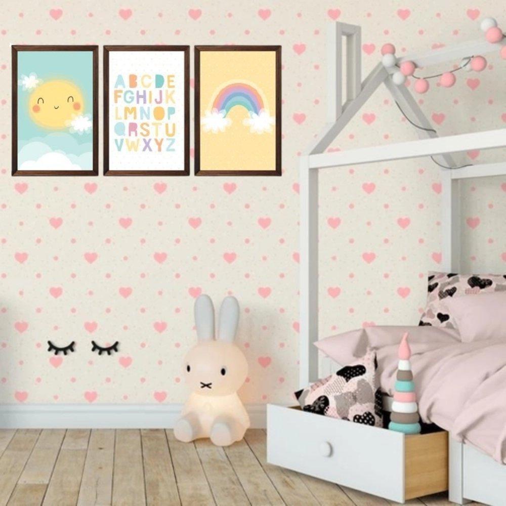 Quadro decorativo infantil baby alfabeto sem acrílico 40x30  marrom
