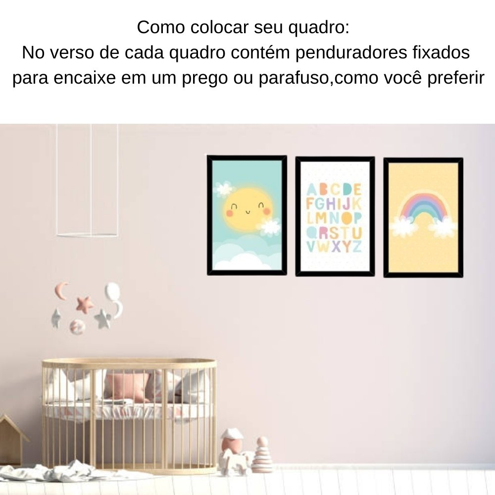 Quadro decorativo infantil baby alfabeto sem acrílico 40x30  preto