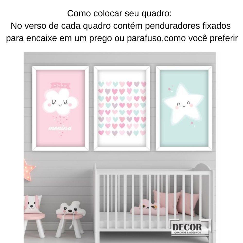 Quadro decorativo infantil chuva de amor menina com acrílico 40x30  branco