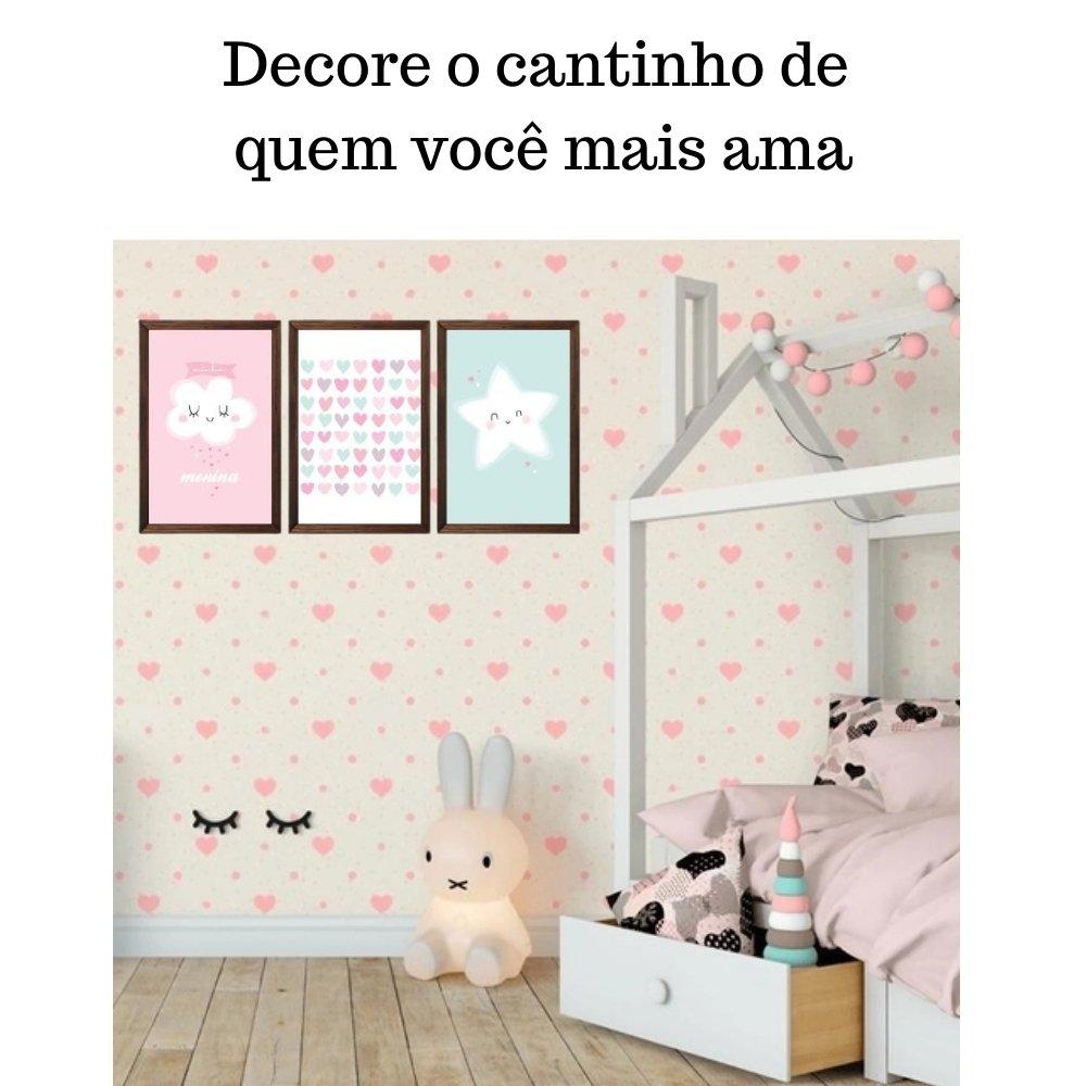 Quadro decorativo infantil chuva de amor menina com acrílico 40x30  marrom