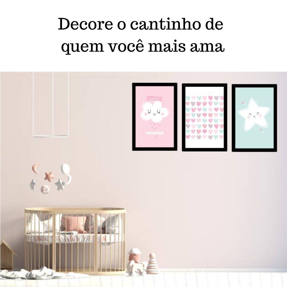 Quadro decorativo infantil chuva de amor menina sem acrílico 30x20  preto