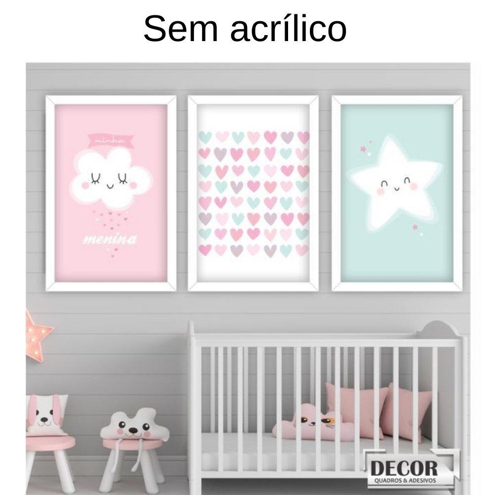 Quadro decorativo infantil chuva de amor menina sem acrílico 40x30  branco