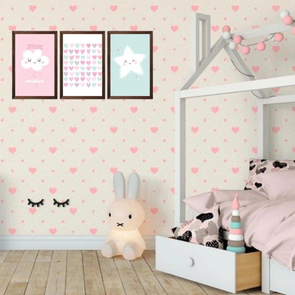 Quadro decorativo infantil chuva de amor menina sem acrílico 40x30  marrom