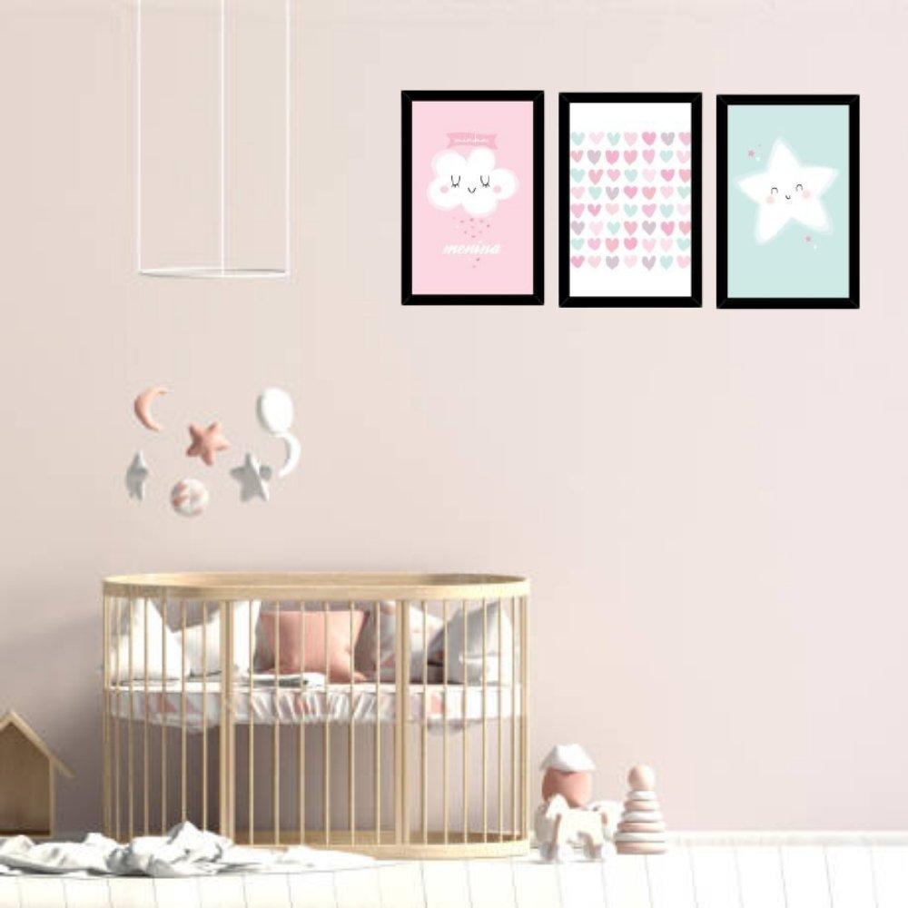 Quadro decorativo infantil chuva de amor menina sem acrílico 40x30  preto