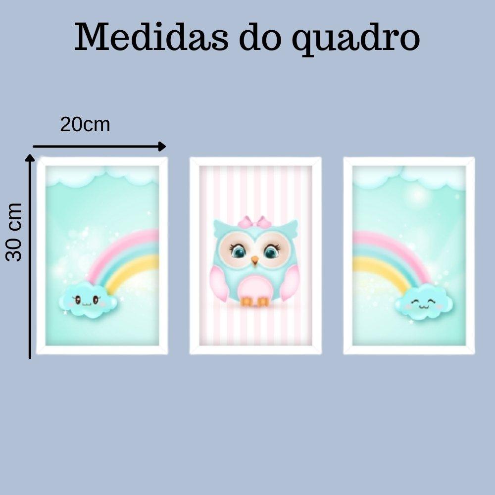 Quadro decorativo infantil corujinha chuva de amor com acrílico 30x20  branco