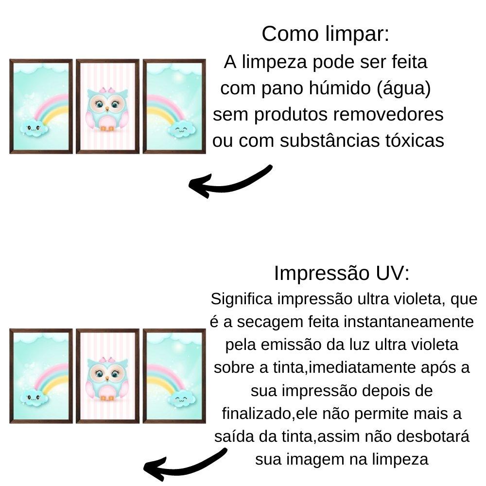 Quadro decorativo infantil corujinha chuva de amor com acrílico 30x20  marrom