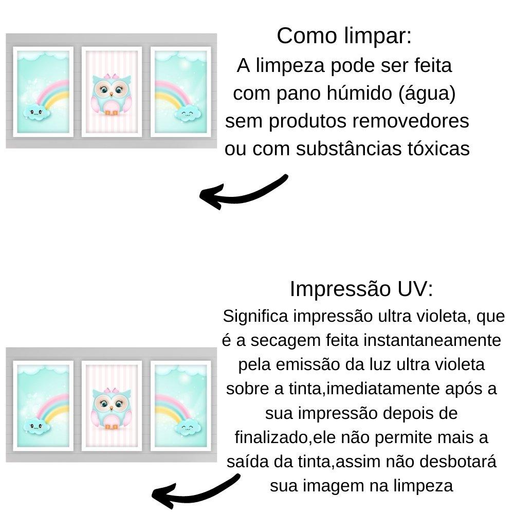 Quadro decorativo infantil corujinha chuva de amor com acrílico 40x30  branco