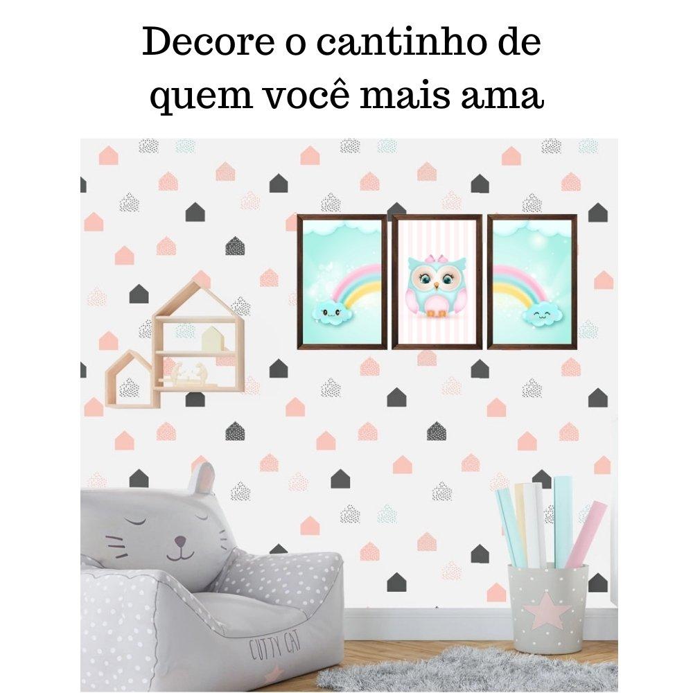Quadro decorativo infantil corujinha chuva de amor com acrílico 40x30  marrom
