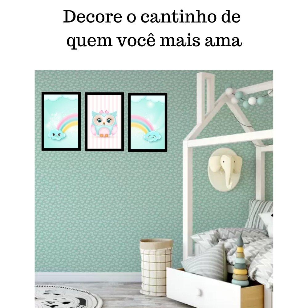 Quadro decorativo infantil corujinha chuva de amor com acrílico 40x30  preto