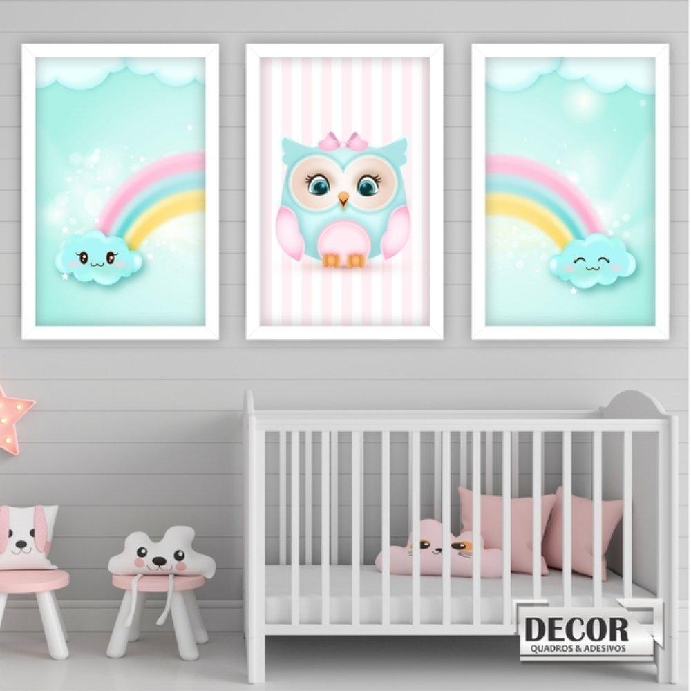Quadro decorativo infantil corujinha chuva de amor sem acrílico 30x20  branco