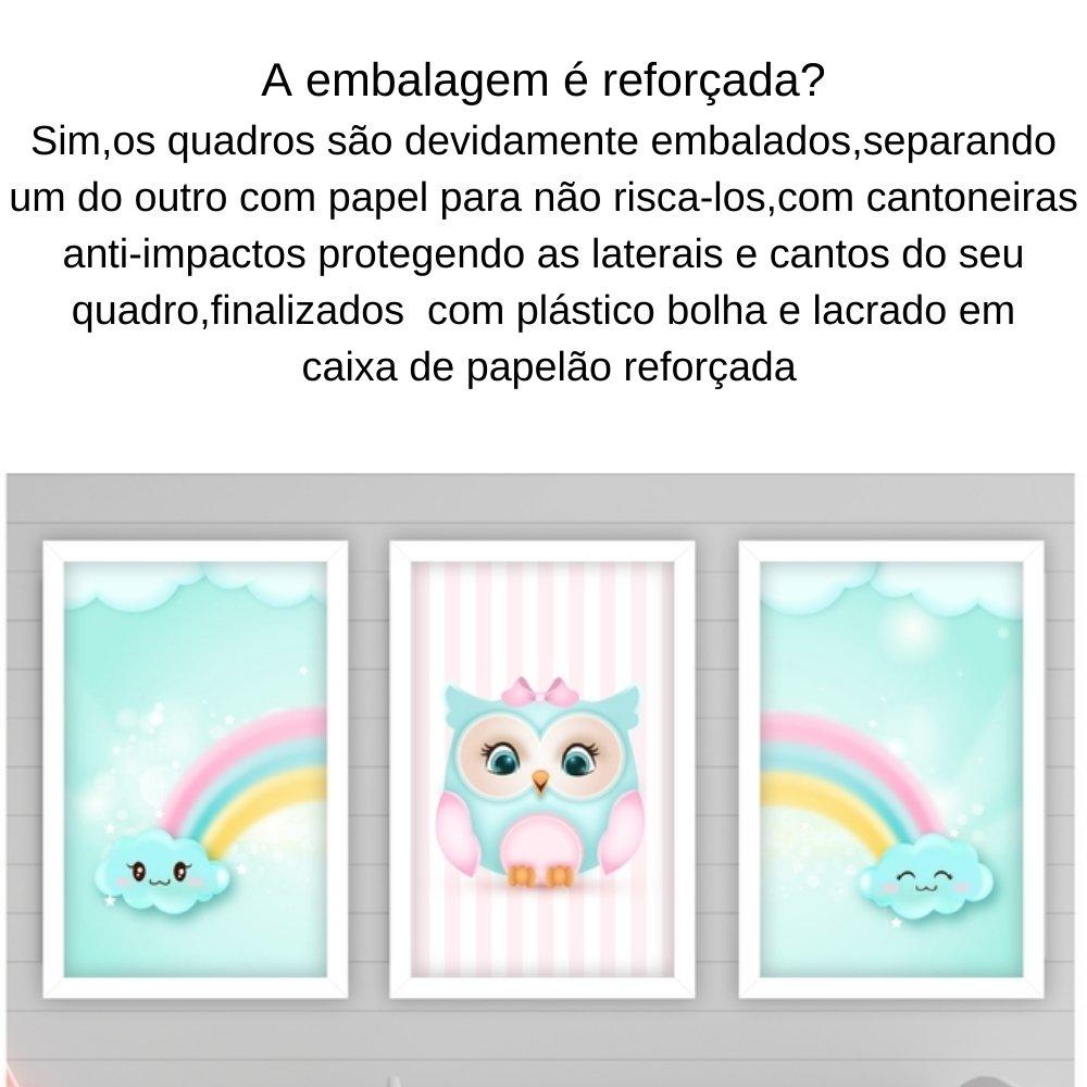 Quadro decorativo infantil corujinha chuva de amor sem acrílico 40x30  branco