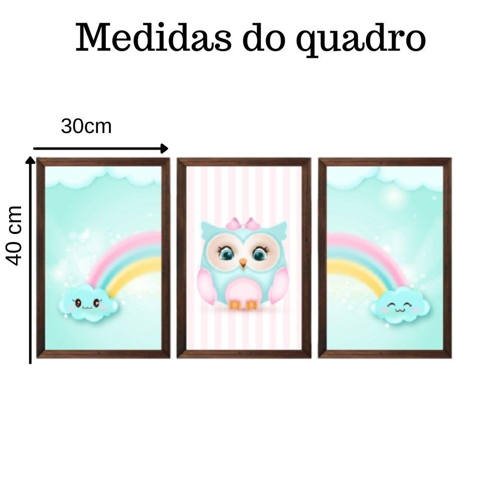 Quadro decorativo infantil corujinha chuva de amor sem acrílico 40x30  marrom