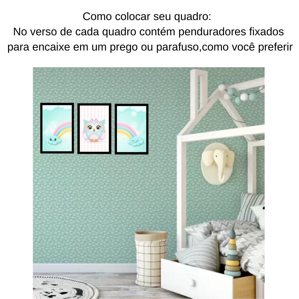 Quadro decorativo infantil corujinha chuva de amor sem acrílico 40x30  preto