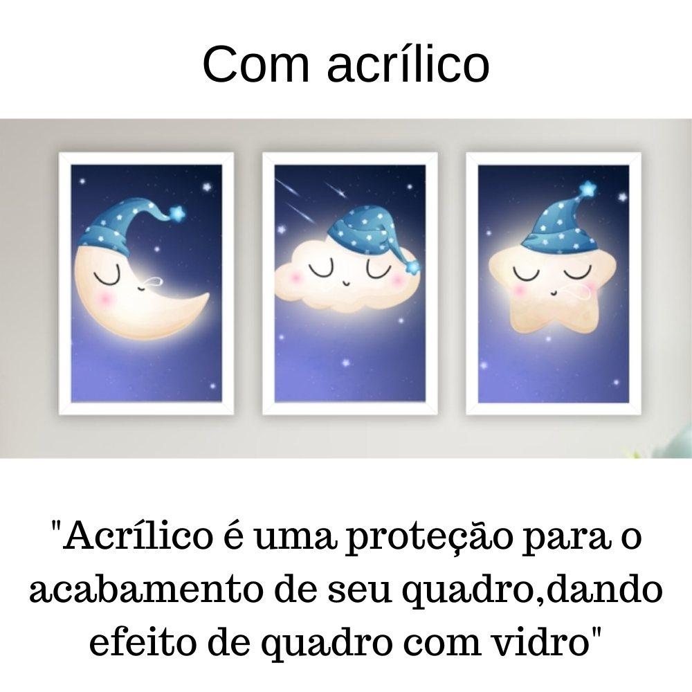 Quadro decorativo infantil lua nuvem e estrela sonhadora com acrílico 30x20  branco